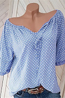 V Neck Short Sleeve Polka Dot Blouse