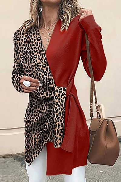 V Neck Leopard Casual Outerwear