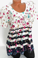 Round Neck Floral Print Short Sleeve T-shirt