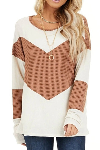 Waffle contrast color stitching loose round neck T-shirt