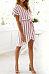 V Neck  Belt  Striped  Short Sleeve Casual Dresses