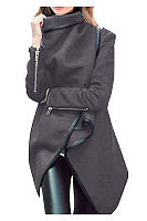Lapel  Plain Front Wrapped Outerwear