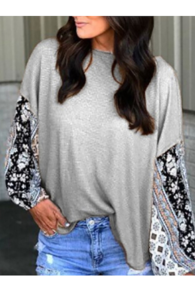 Casual Round Neck Lace Stitching Long Sleeve T-Shirt