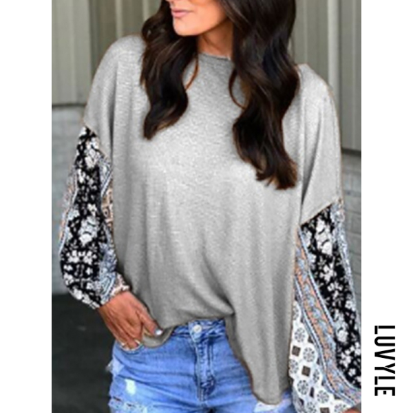 Gray Casual Round Neck Lace Stitching Long Sleeve T-Shirt Gray Casual Round Neck Lace Stitching Long Sleeve T-Shirt