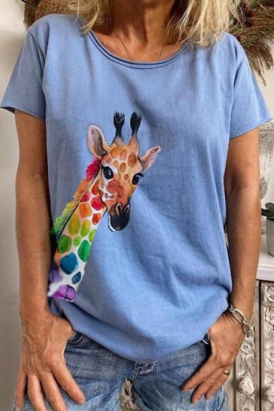 Giraffe V Neck Loose T-shirt