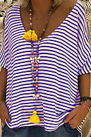 Stripes Deep V Neck Short Sleeve T-Shirts