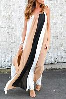 Chiffon Striped Sleeveless Maxi Dresses