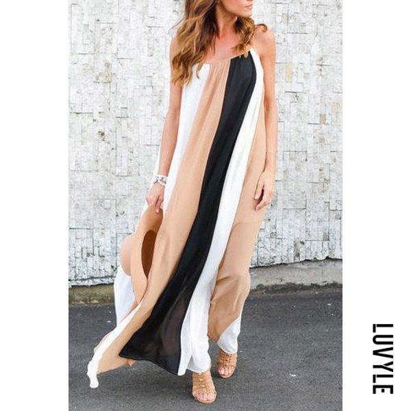 Chiffon Striped Sleeveless Maxi Dresses