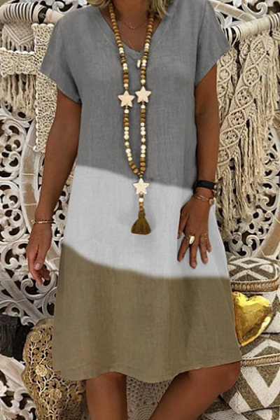 V Neck Short Sleeve Color Block Casual Dress