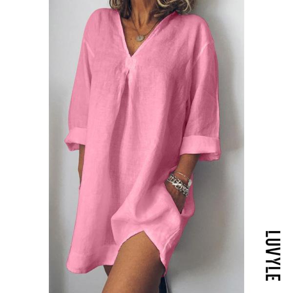 Pink V-Neck Linen Plain Shift Dress Pink V-Neck Linen Plain Shift Dress