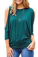 Open Shoulder Round Neck  Plain  Batwing Sleeve T-Shirts
