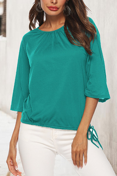 Round Neck  Drawstring  Plain T-Shirts