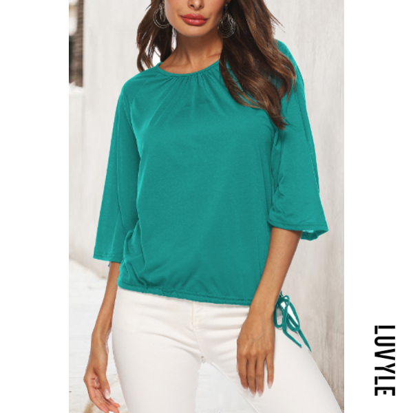 Green Round Neck Drawstring Plain T-Shirts Green Round Neck Drawstring Plain T-Shirts