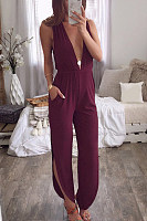 Deep V Neck  Loose Fitting  Plain  Sleeveless Jumpsuits