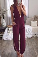 Deep V Neck  Loose Fitting  Plain  Sleeveless Jumpsuits