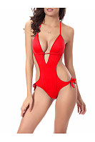 Sexy Solid Halter Cutout One Piece