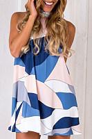 High Neck  Geometric  Sleeveless Casual Dresses