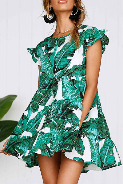 Round Neck  Printed  Extra Short Sleeve Casual Dresses