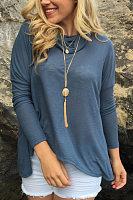 Heap Collar Long Sleeve Back Hole Plain T-Shirt
