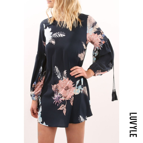 Navy Blue Round Neck Floral Printed Lantern Sleeve Long Sleeve Casual Dresses Navy Blue Round Neck Floral Printed Lantern Sleeve Long Sleeve Casual Dresses