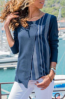 Women's Irregular Splicing Round Neck Stripe Long Sleeve T-Shirt