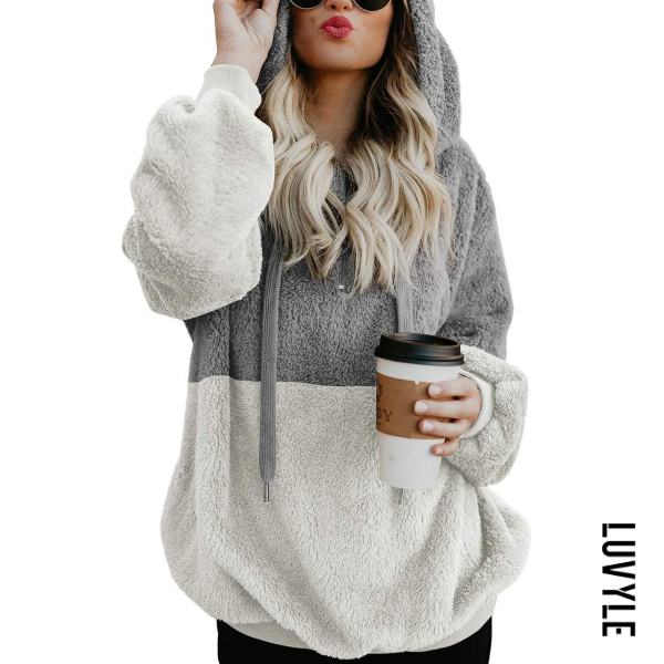 Light Gray Hooded Cotton Patchwork Casual Hoodies Light Gray Hooded Cotton Patchwork Casual Hoodies