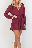 Deep V Neck  Belt Loops  Plain  Long Sleeve Playsuits