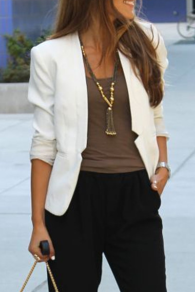 Brief Pure Color Long Sleeve Blazer