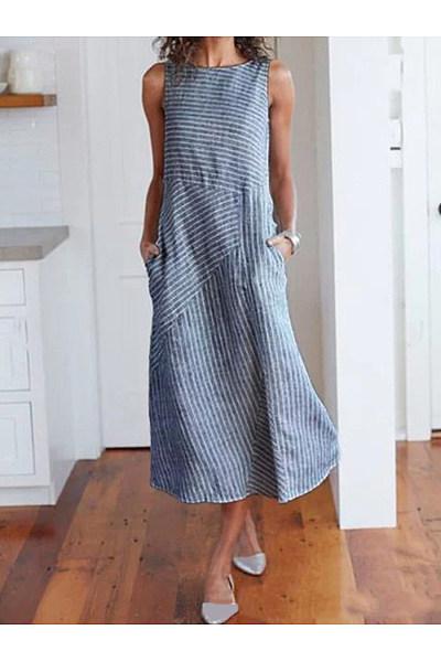 Linen Round Neck  Striped Maxi Dress