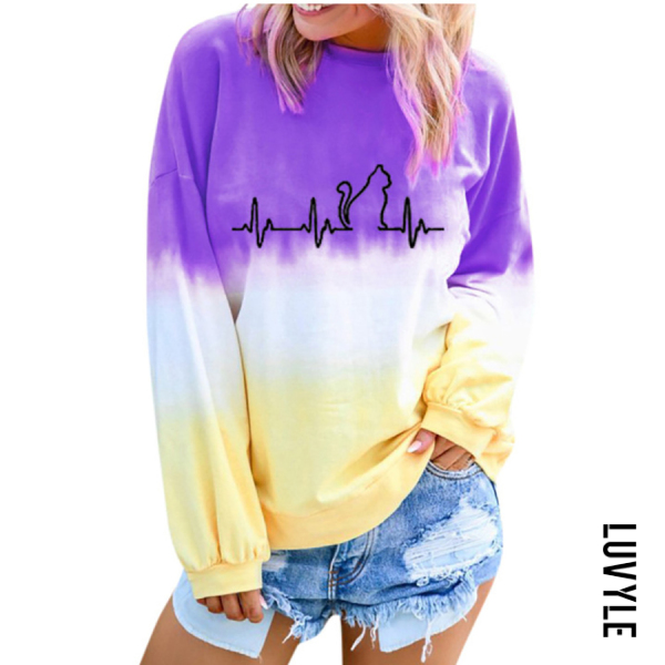 Purple Casual Gradient Print Round Neck T-Shirt Purple Casual Gradient Print Round Neck T-Shirt
