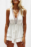 Decorative Lace Elastic Waist Patchwork  Plain  Playsuits