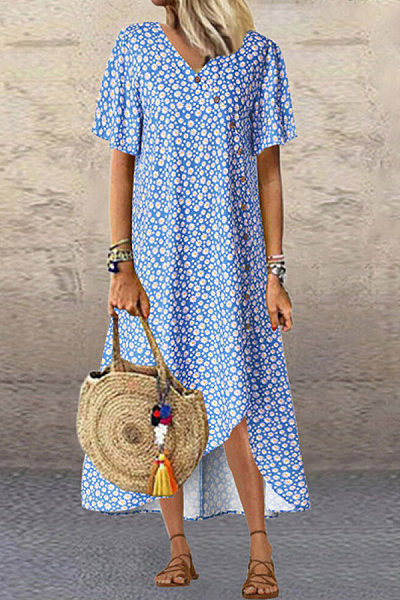 Daisy Printed V Neck Irreguler Hem Maxi Dress
