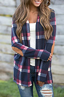 Small Lapel  Patchwork  Gingham Cardigans