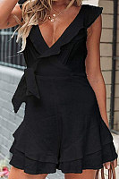 V Neck  Plain  Elegant  Playsuits