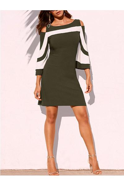 Boat Neck  Color Block Bodycon Dress