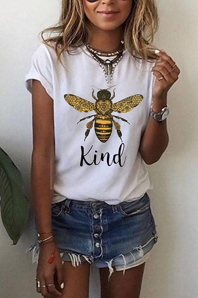 Bee Printed Round Neck T-shirt