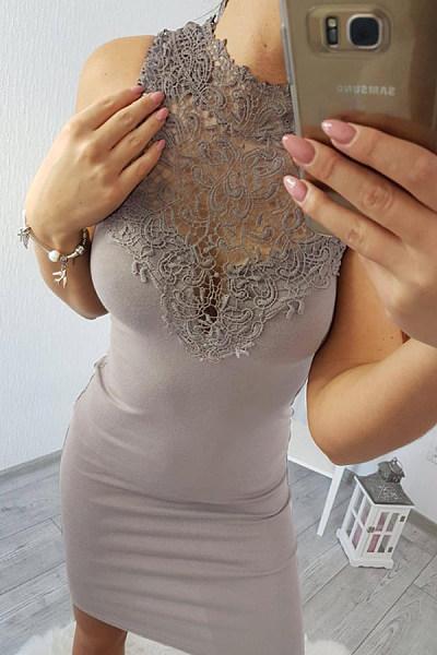 Round Neck  Decorative Lace  Plain  Sleeveless Bodycon Dresses