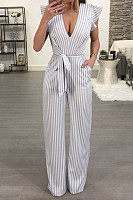 Deep V Neck  Backless  Striped  Short Sleeve Jumpsuits