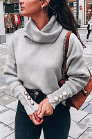 Heap Collar Long Sleeve Plain Sweater