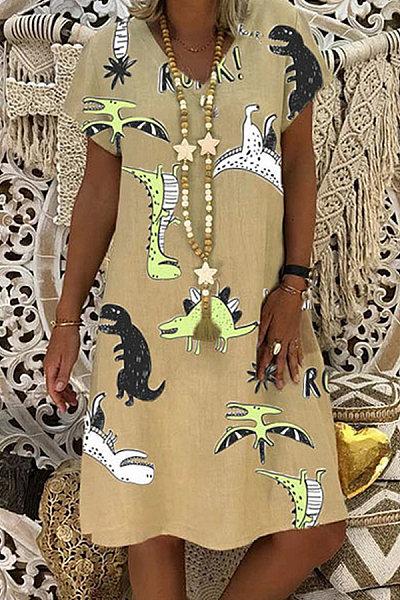 Fashion Print V-neck Short Sleeve Dress
