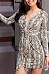 Deep V Neck  Belt  Animal Printed  Long Sleeve Bodycon Dresses