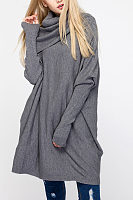 Turtle Neck  Asymmetric Hem  Plain  Batwing Sleeve Sweaters