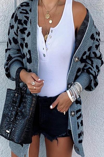 Commuting Leopard Print Long Sleeve Sweaters
