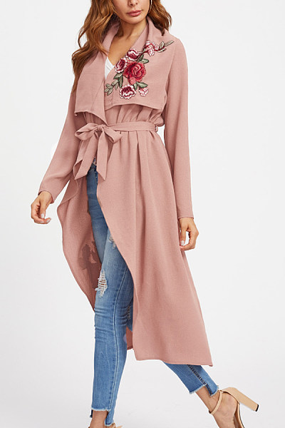Lapel  Floral Printed Trench Coat