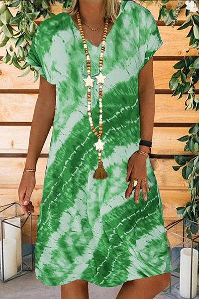 Casual Tie-dye Digital Print Dress