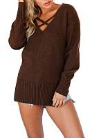 Surplice  Slit  Plain Sweaters