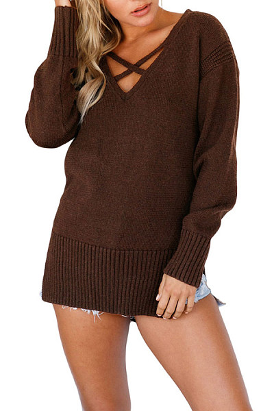 Surplice  Slit  Plain Sweaters