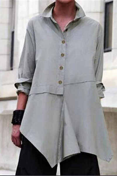 Casual solid color irregular long-sleeved blouse