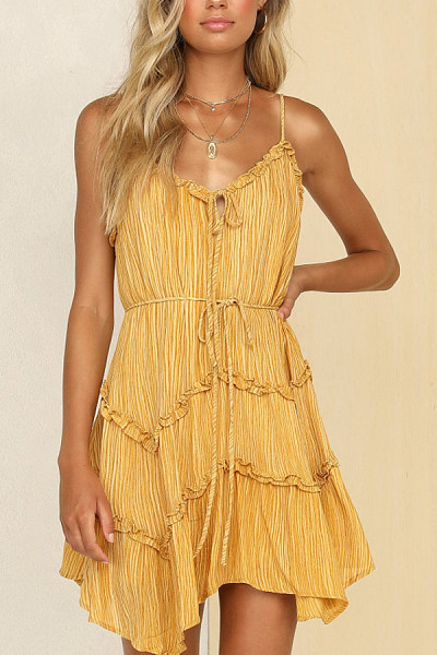 Spaghetti Strap  Loose Fitting  Plain  Sleeveless Skater Dresses