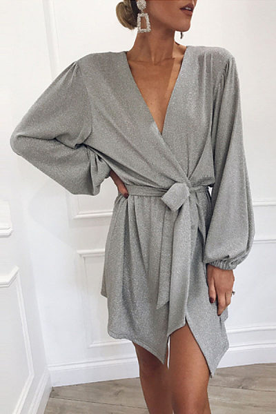 Deep V Neck  Asymmetric Hem  Belt  Plain  Long Sleeve Casual Dresses